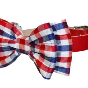 red white and blue bow tie dog collar side
