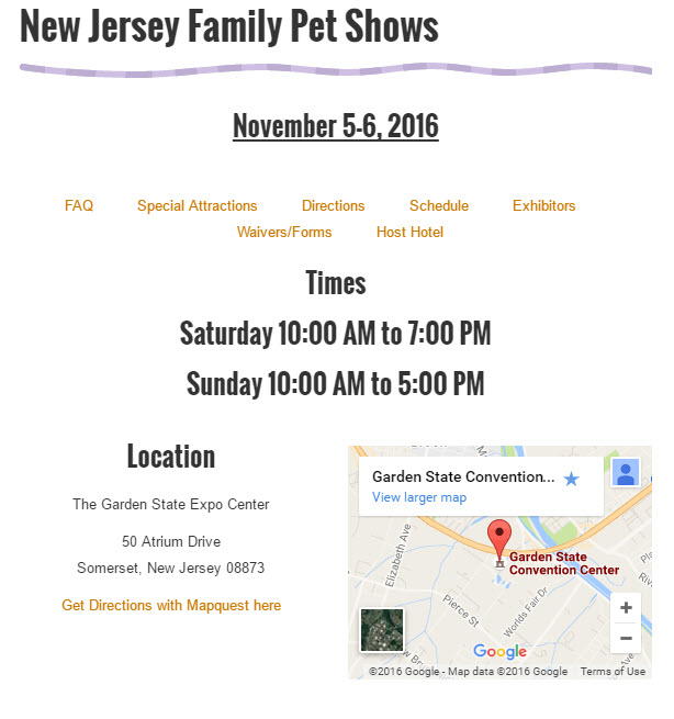 New Jersey family pet show